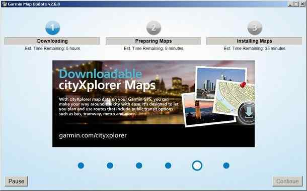 Garmin Map update download screen